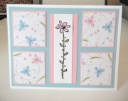 Pink and Blue Flowers - Birthday card