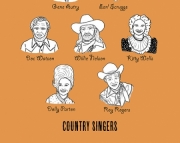 Country Singers 8.5 x 11 Print.