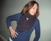 Handknit Scarf in Deep Purple