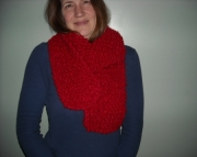 Handknit Scarf in Red