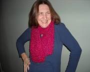 Handknit Scarf in Hot Pink