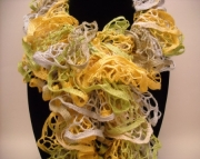 Ruffle Scarf in Yellow Lime Gray and Tan