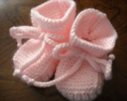 Stay-on Pink Baby Booties size 3 to 6 month