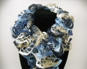 Ruffle Scarf in Blues and Tans