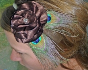 Peacock feather and  Brown Satin Flower Headband