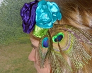 Peacock Feather and Satin Flower Headband