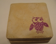 Purple Owl Coasters Set (4)