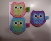 Felt owl hair clippie set
