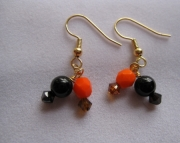 Zigzag Orange and Black Earrings