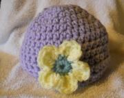 Crocheted Girls Flower Hat