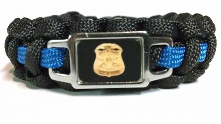 Thin Blue Line Flint Police Department Shoulder Patch Paracord Survival Bracelet and Key Chain Combo