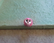 Adorable Pink Owl Ring: Polymer Clay, Adjustable