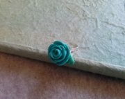 Turquoise Clay Rose Ring: Polymer Clay, Adjustable