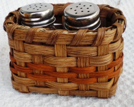 Salt and Pepper Basket Orange Handwoven