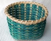 Teal Plain & Fancy Handwoven Basket