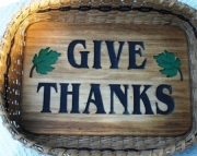 Large Give Thanks Handwoven Basket