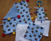 Rain Tag Blanket, Washcloth, and Crinkle Sensory Toy Set - Blue Minky & Flannel with Red, Yellow, Gr