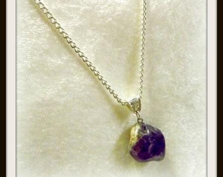 Small Purple Stone Pendant Necklace