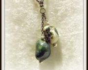 Double green stone pendant necklace