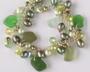Sea Glass Bracelet-shades of Green with Freshwater Pearls and Swarovski Crystals