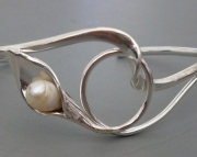 Sterling Lily with Pearl Bracelet