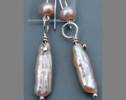 Biwa Pearl Dangle Ear Rings