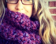 Purple Extra Chunky Cowl, Thick Neck Warmer, Chunky Scarf, Womens Cowl