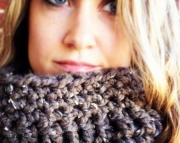 READY TO SHIP Brown tweed chunky cowl, thick neck warmer, chunky scarf, The Hot Teapot, cozy cowl, s