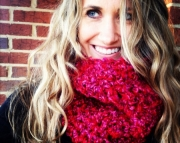 Raspberry Red Lightweight Wool Free Womens Cowl, Super Soft Neckwarmer, Cranberry Red Christmas Gift