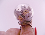 Steampunk Watch Part Brass Filigree Glass Dome Adjustable Ring