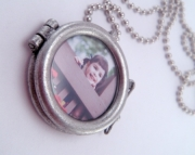Oxidized Custom One Inch Double Sided Picture Photo Necklace with 18 Inch Ballchain