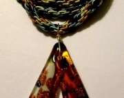 Glass Copper Drop Shape Pendant On Black, Grey, Yellow and Light Blue Kumihimo Braid