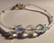 Pale Periwinkle Blue & Frosted Iridescent Czech Glass Crystal Bridal Bracelet