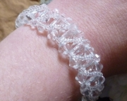 Clear Crystal and Glass Hand Beaded Cathedral Bracelet