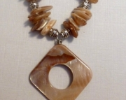 Tan Mother of Pearl and Leather Necklace