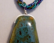 Blue Green Ceramic Pendant on Turquoise & Purple Kumihimo Braid
