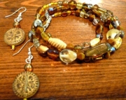 Brown Glass Beaded Necklace -or- Bracelet Set with Earrings