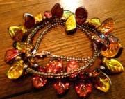 Autumn Leaf Red, Orange, Gold Copper Beaded Necklace