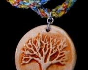 Beachy & Fun Handmade Pottery Tree Pendant on Rainbow Braid