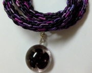 Glass Violet Flower Pendant on Purple & Black Kumihimo Braid