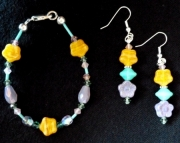 Floral Beaded Bracelet and Earring Set