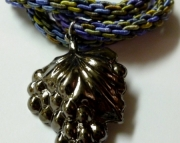 Metal Grapes Pendant on Green, Periwinkle & Violet Kumihimo Braid