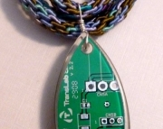 Green Computer Chip Board Pendant on Turquoise & Purple Kumihimo Braid