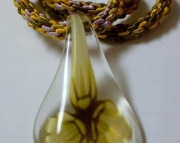 Glass Flower Drop Pendant on Pink, Tan & Yellow Kumihimo Braid