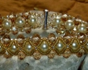 Cream Pearl, Crystal & Glass Hand Beaded Cathedral Bracelet