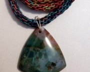 Colorful Stone Pendant on Dark Rainbow Kumihimo Braid