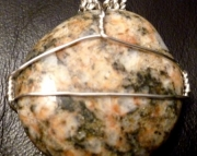 Michigan Beach Stone Granite Wire Wrapped Pendant