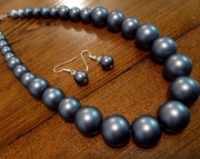 Bold Graduated Grey Glass Pearl Necklace & Earrings