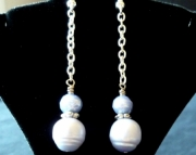 Violet Pearl Dangle Drop Beaded Chain Earrings