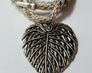 Metal Silver Leaf Pendant on Pastel Kumihimo Braid
